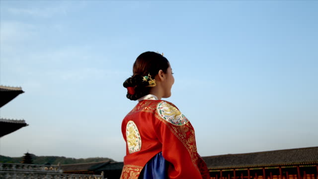 cu zi lady in queen dress standing behind gyeongbokgung palace / seoul, south korea  - 若い女性だけ点の映像素材/bロール