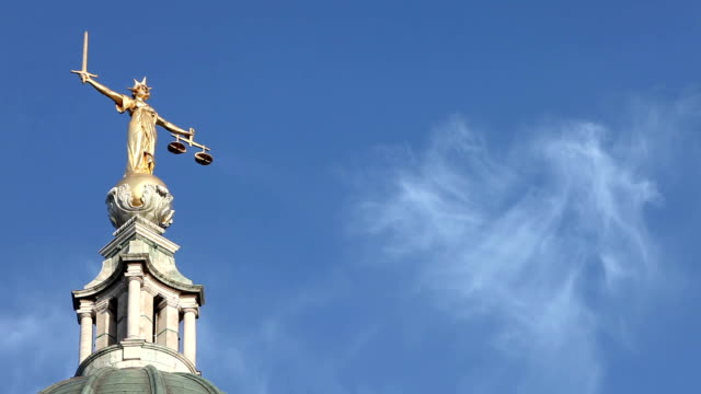 lady justice, old bailey, london, uk - time lapse - equal arm balance stock videos and b-roll footage