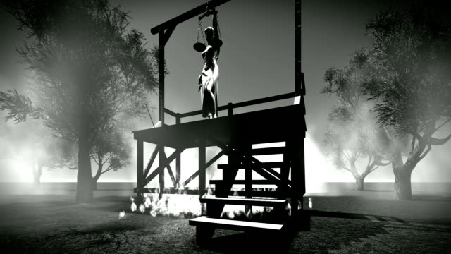 lady of justice on hanging gallows - hanging gallows stock videos & royalty-free footage