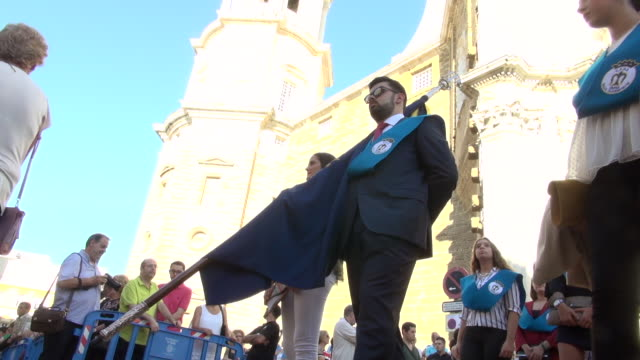 lady of the rosary procession in cadiz, spain - rosary beads stock videos & royalty-free footage