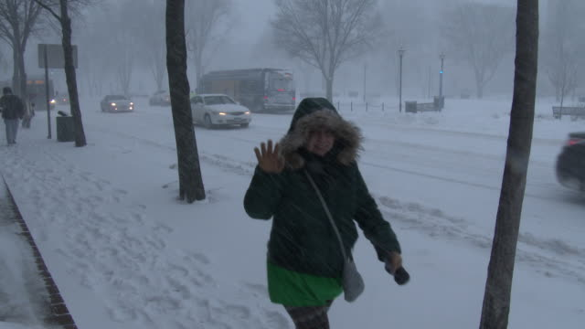 A lady waves to the camera as her and other pedestrians trudge through heavy snow strong winds and bitter cold temperatures during an intense...