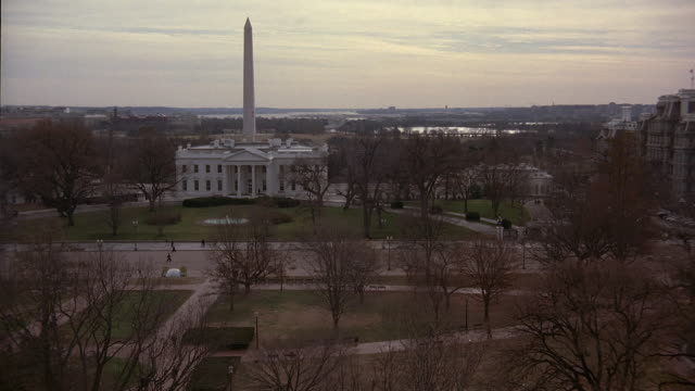 aerial lafayette park next to the white house and washington monument / washington, dc, united states - washington monument washington dc stock videos & royalty-free footage