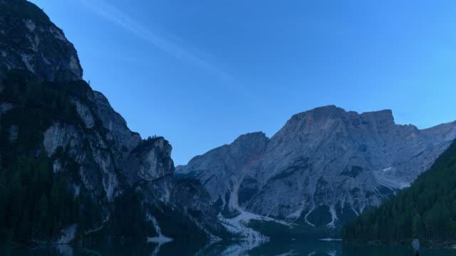lago di braies,lake braies beautiful lake in dolomites italy - lago stock videos & royalty-free footage