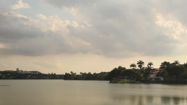 ws pan lagoa da pampulha pampulha laggon / belo horizonte, minas gerais, brazil - horizonte stock videos & royalty-free footage