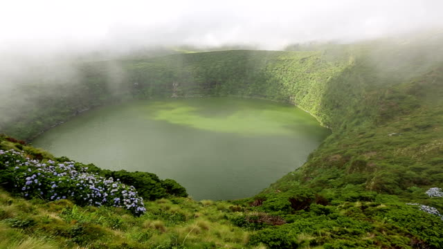 lagoa funda and lagoa comprida, flores island, azores - reserva natural stock videos and b-roll footage