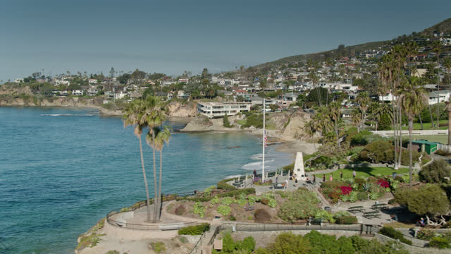 laguna beach, california as viewed from the above the pacific ocean - aerial - laguna beach california stock videos & royalty-free footage
