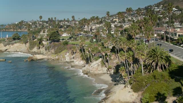 laguna beach coastline - aerial - laguna beach california stock videos & royalty-free footage