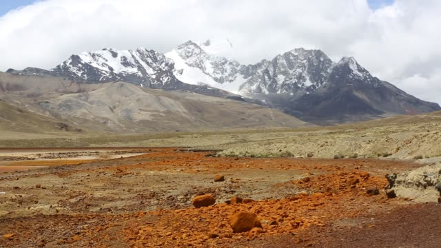 laguna miluni is a reservoir fed by glacial meltwater from the andean peak of huayna potosi in the bolivian andes - bolivian andes stock videos & royalty-free footage