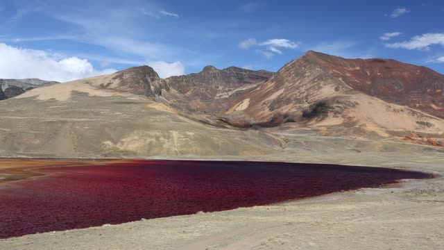 laguna miluni is a reservoir fed by glacial meltwater from the andean peak of huayna potosi in the bolivian andes. - bolivian andes stock videos & royalty-free footage