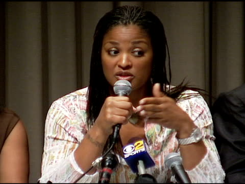 laila ali on the growth of woman's boxing at the laila ali press conference at the museum of television and radio in beverly hills, california on... - boxing women's stock videos & royalty-free footage