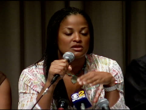 laila ali on woman's boxing at the laila ali press conference at the museum of television and radio in beverly hills, california on june 23, 2006. - boxing women's stock videos & royalty-free footage