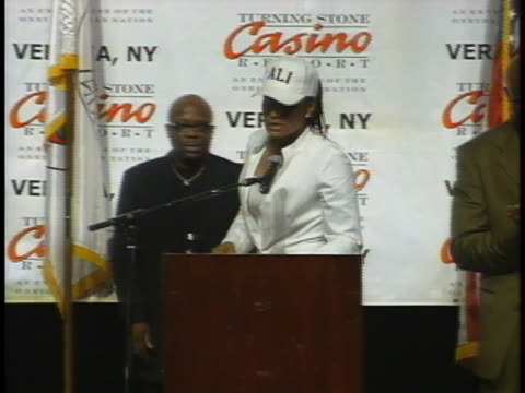 laila ali, winner of a women's boxing match against jacqui frazier-lyde, speaks at a press conference following her win. - boxing women's stock videos & royalty-free footage