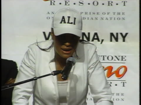 laila ali, winner of a women's boxing match with jacqui frazier-lyde, speaks at a press conference following her win. - boxing women's stock videos & royalty-free footage