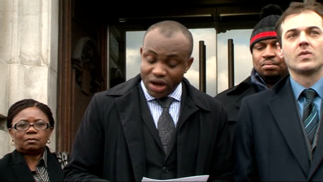 deaths 'could have been prevented' london brixton ext mbet udoaka statement to press outside inquest building sot - inquest stock videos & royalty-free footage