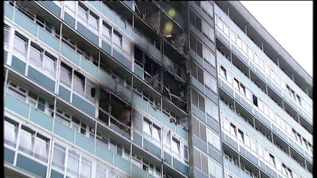government advisor on fire and rescue policy gives evidence t05070902 / tx various shots of fireblackened flats at lakanal house - inquest stock videos & royalty-free footage
