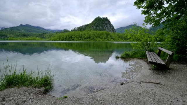 lake almsee in the morning, almtal, upper austria, austria - upper austria stock videos & royalty-free footage