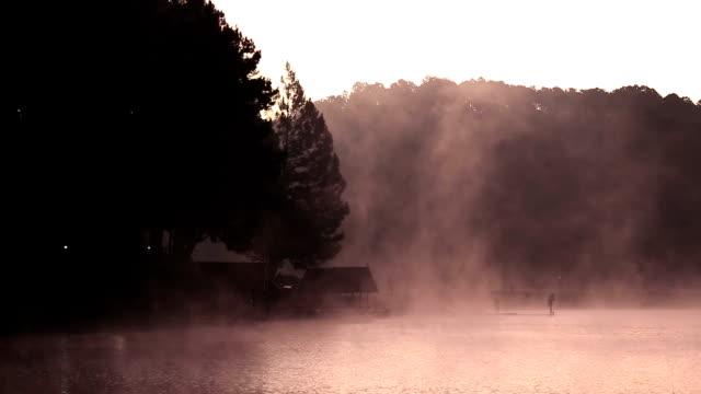 HD: lake and mountain at Pang Ung Thailand Sunrise