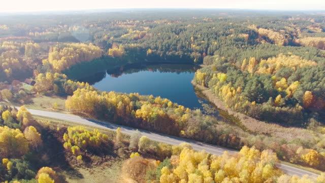 Lake and road aerial shot