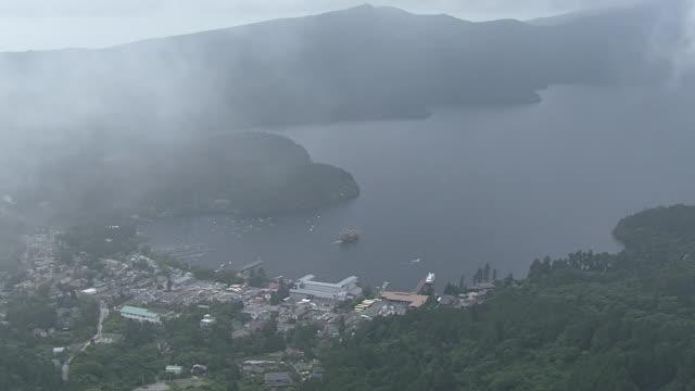 aerial, lake ashi or ashinoko lake, kanagawa, japan - 神奈川県点の映像素材/bロール