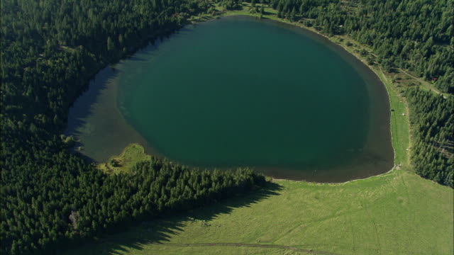 AERIAL, Lake at Puy de Dome region, Auvergne, France