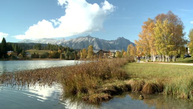 lake at seefeld in tirol - sunny video stock e b–roll