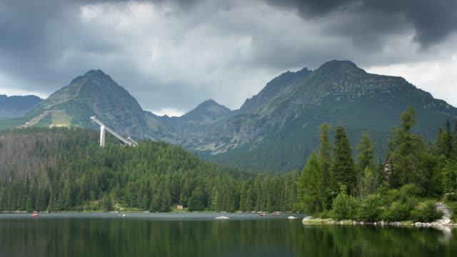 (timelapse) lake at štrbské pleso - slovakia stock videos & royalty-free footage