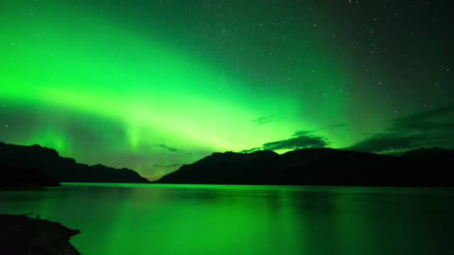 lake aurora borealis in banff, alberta, travel and time-lapse through canada - banff national park stock videos & royalty-free footage