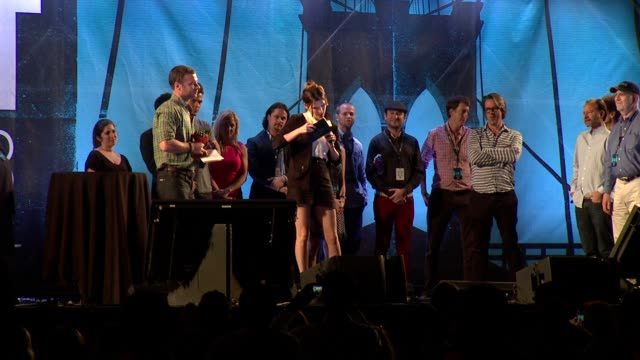 """SPEECH Lake Bell announces 1st place Tropfest 2013 Winners Nick Baker and Tristan Klein for a film called """"The Unlikely Maestro"""" at Tropfest New York..."""