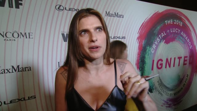 INTERVIEW Lake Bell on equal wages and progress of women in film at the Women in Film 2018 Crystal Lucy Awards Presented by Max Mara Lancome and...