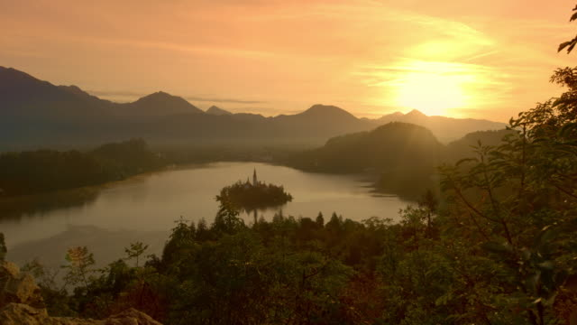ds lake bled at sunset - lake bled stock videos & royalty-free footage