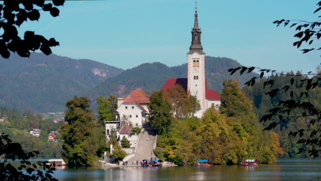 lake bled church - slovenia - lake bled stock videos & royalty-free footage
