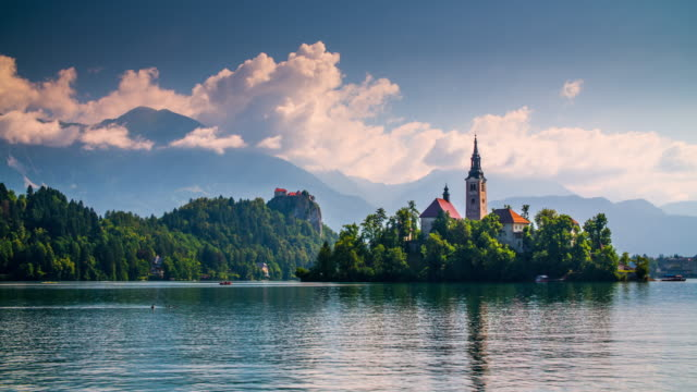 lake bled, slovenia - lake bled stock videos & royalty-free footage