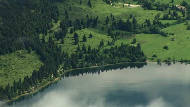 aerial, zo, lake bohinj, triglav national park, slovenia - triglav national park stock videos and b-roll footage