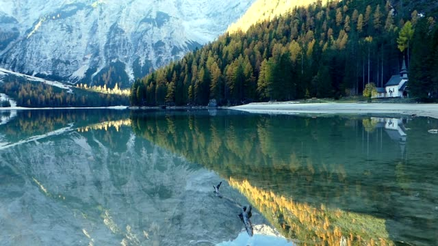 Lake Braies in Dolomites alps, Italy