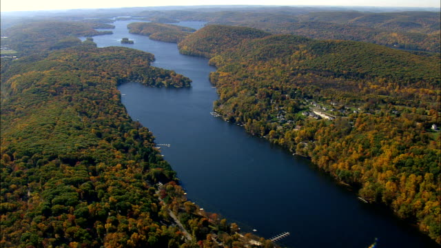 lake candlewood  - aerial view - connecticut,  litchfield county,  united states - connecticut stock videos & royalty-free footage