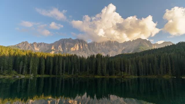 Lake Carezza Dolomites Italy,famous travel location,4K time-lapse
