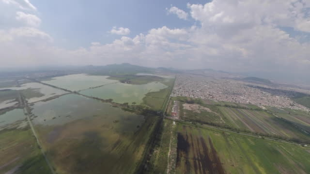 lake chalco in mexico city aerial view panoramic - アステカ文明点の映像素材/bロール