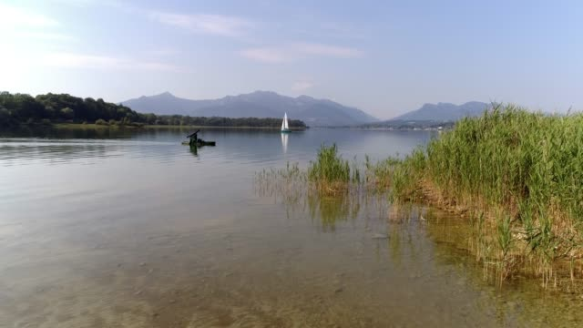lake chiemsee and chiemgauer alps from the north - bavarian alps stock videos & royalty-free footage
