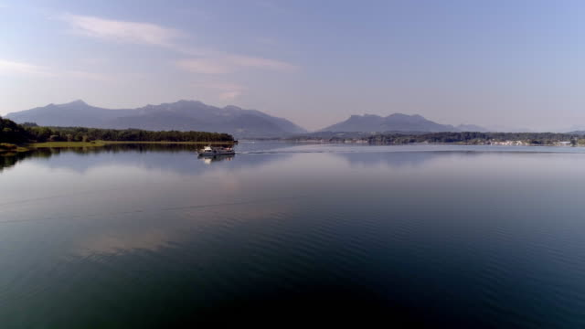 lake chiemsee and chiemgauer alps from the north - bavaria stock videos & royalty-free footage