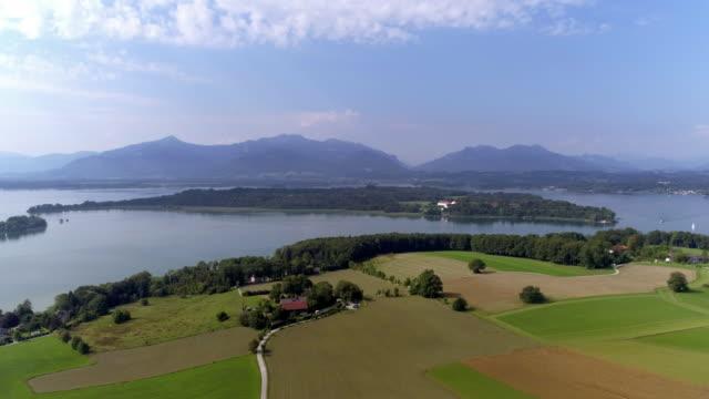 lake chiemsee and herreninsel in bavaria - bavaria stock videos & royalty-free footage