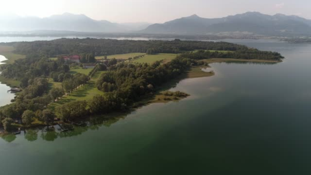 lake chiemsee and herreninsel with the old castle - bavaria stock videos & royalty-free footage