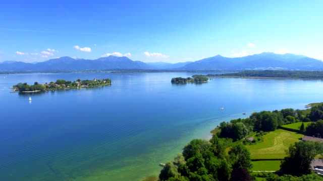 lake chiemsee and the fraueninsel in upper bavaria - german culture stock videos & royalty-free footage