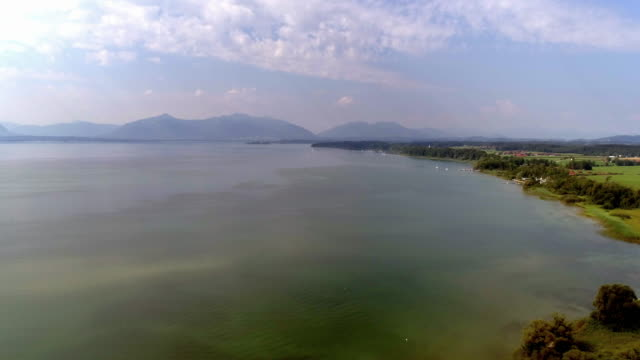 lake chiemsee northwest shore from seebruck - bavaria stock videos & royalty-free footage