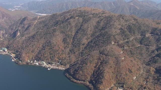 aerial, lake chuzenji, tochigi, japan - satoyama scenery stock videos & royalty-free footage