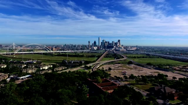 lake cliff park view of dallas texas aerial drone view over urban major city in the lone star state - dallas stock videos & royalty-free footage