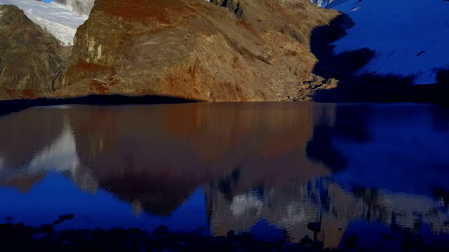 Lake de Los Tres at dawn, Patagonia, Argentina. View from the drone