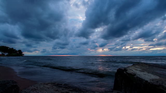 lake erie sunset - dramatic clouds - time lapse - cleveland ohio stock videos and b-roll footage