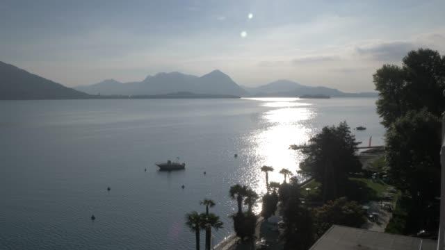 Lake from Baveno in morning sunshine, Lake Maggiore, Piedmont, Italian Lakes, Italy, Europe