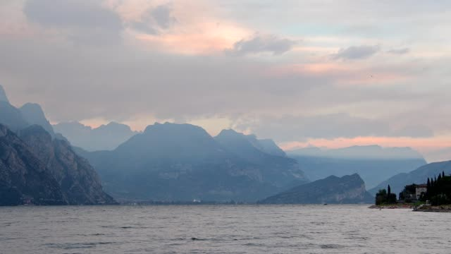 lake garda in the morning, malcesine, lake garda, lago di garda, veneto, italy - lago stock videos & royalty-free footage