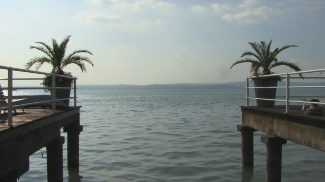 ms, lake garda, sirmione, lombardy, italy - fan palm tree stock videos & royalty-free footage